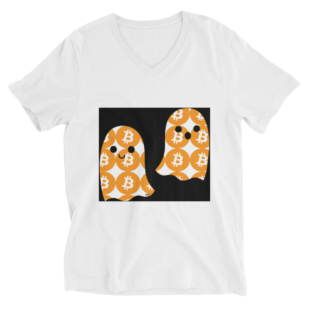 Bitcoin Boo Unisex Short Sleeve V-Neck T-Shirt