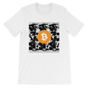 T-Shirt Bitcoin on Black White Artwork - Short-Sleeve Unisex T-Shirt