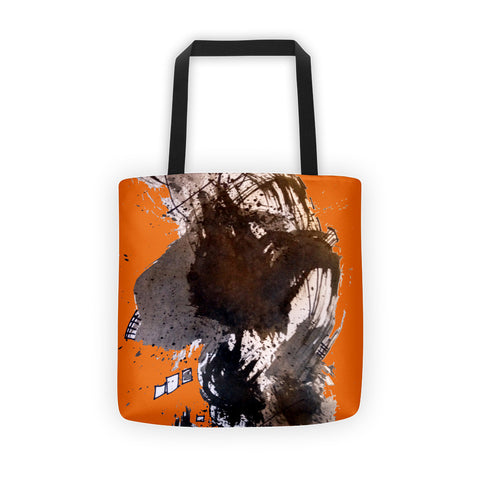 "Black and Orange Design RegiaArt - Tote bag, all over, 15"" x 15"" polyester weather resistant fabric"