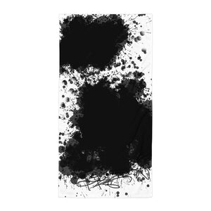 Black White Splash Painting Printed Towel