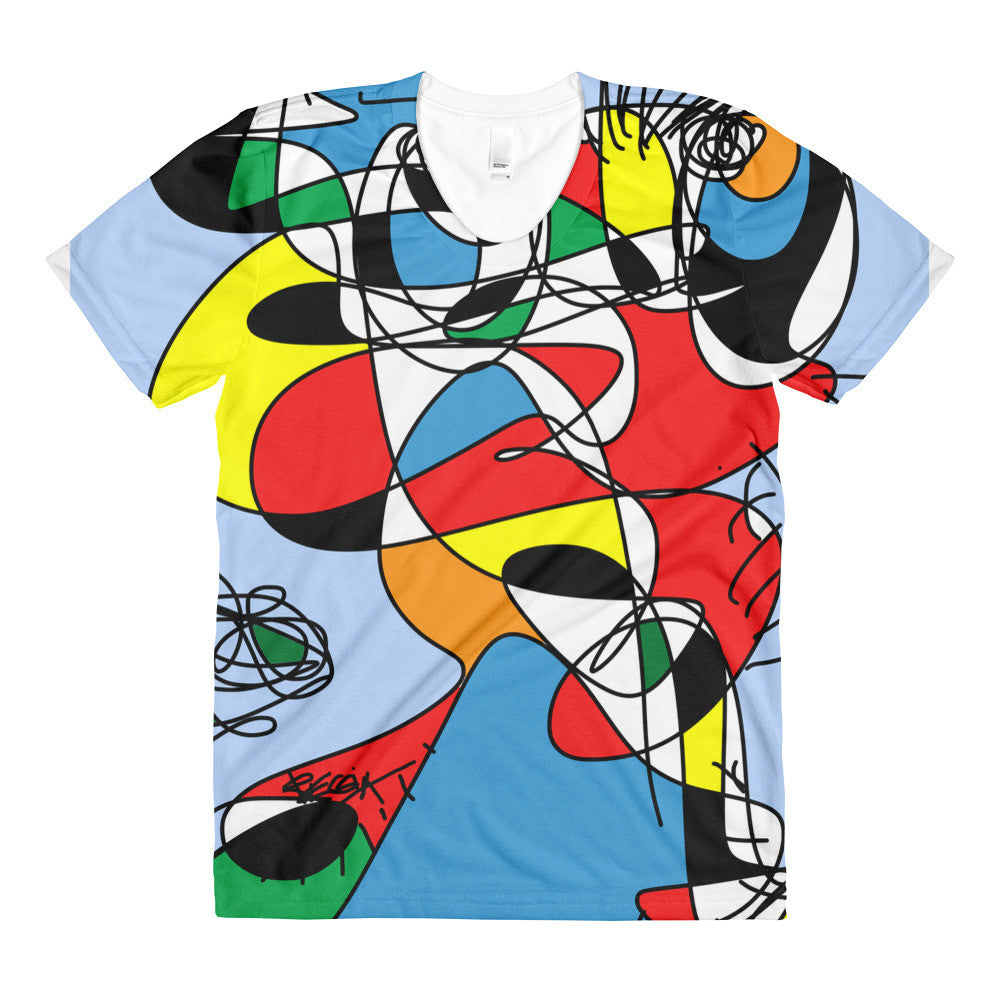 Colorful figure w flower RegiaArt - Sublimation women's crew neck t-shirt