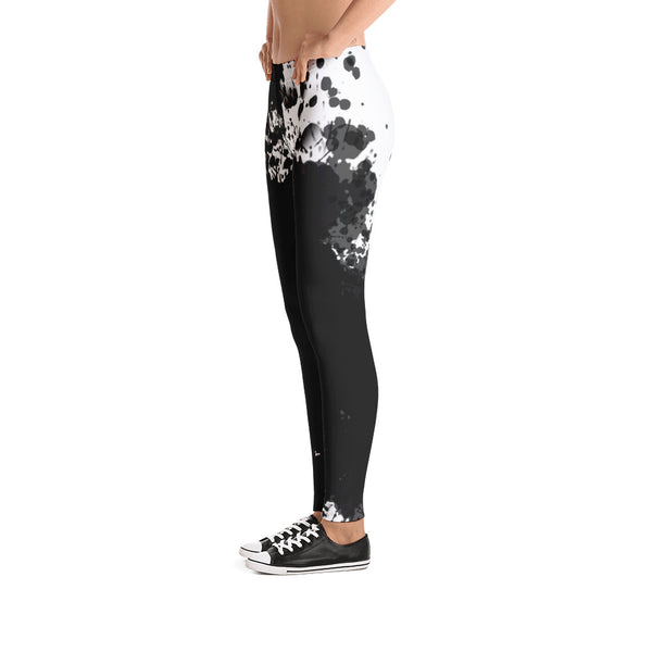 Black White Splash Painting Printed Leggings