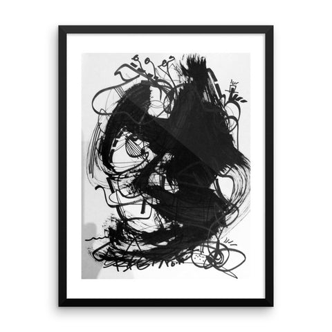 18 Black White Art Abstraction - Framed poster paper