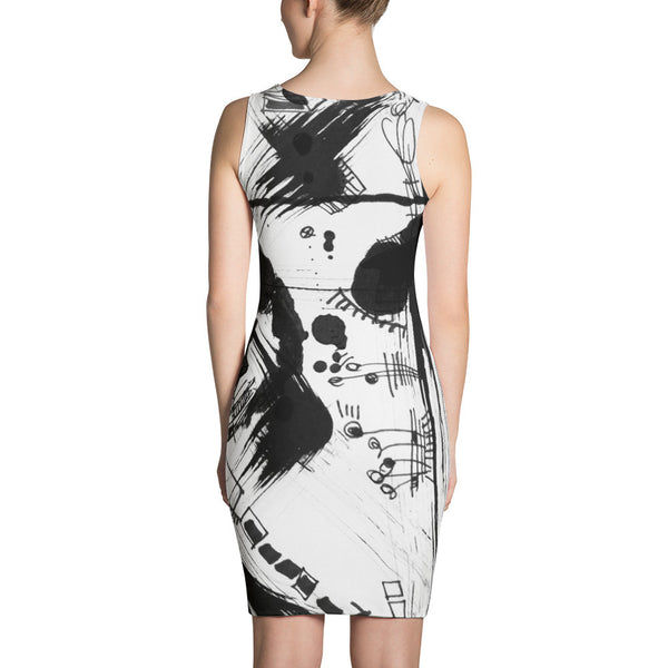 A Dramatic Black White Abstraction RegiaArt - Sublimation Cut & Sew Dress