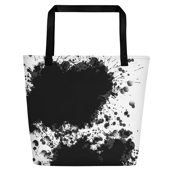 Black White Splash Painting Printed Beach Bag