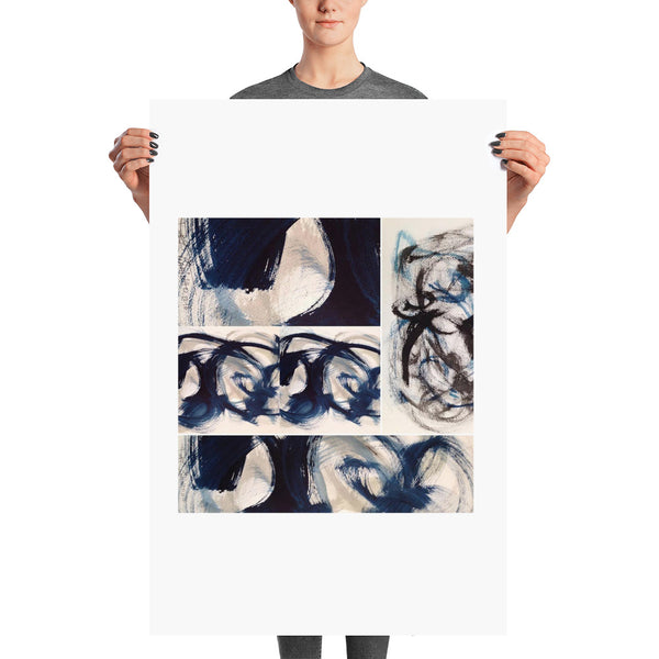 Blue Brush Strokes Abstract Print - Poster