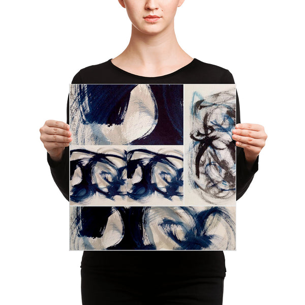 Canvas - Blue Brush Strokes Abstract Print