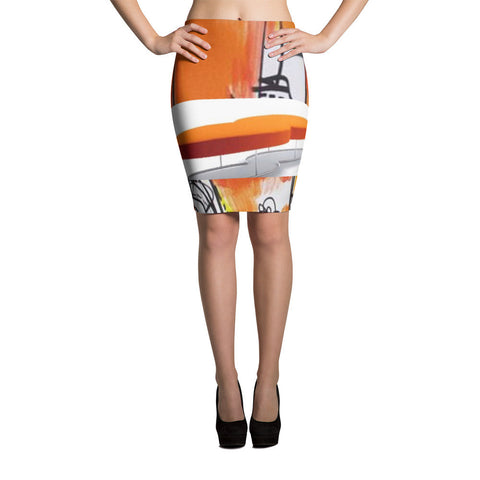 Orange Black Pencil Skirt