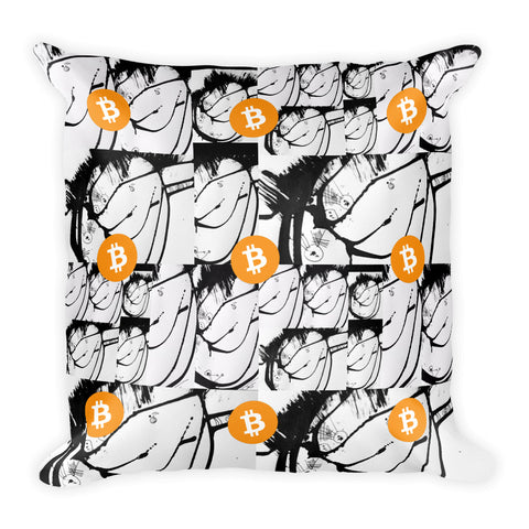 Bitcoin Digital Currency Black White Art Square Pillow