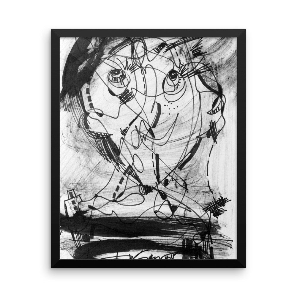 1511 Face Black White Drawing - Framed poster paper