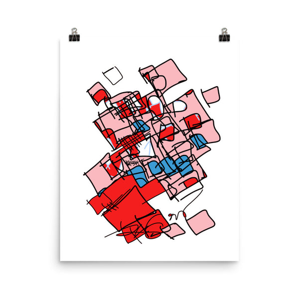Squared in Red and Pink - Poster