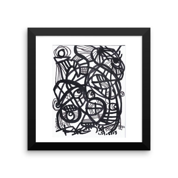 11 Lines Black White - Framed poster, printed on archival, acid-free paper