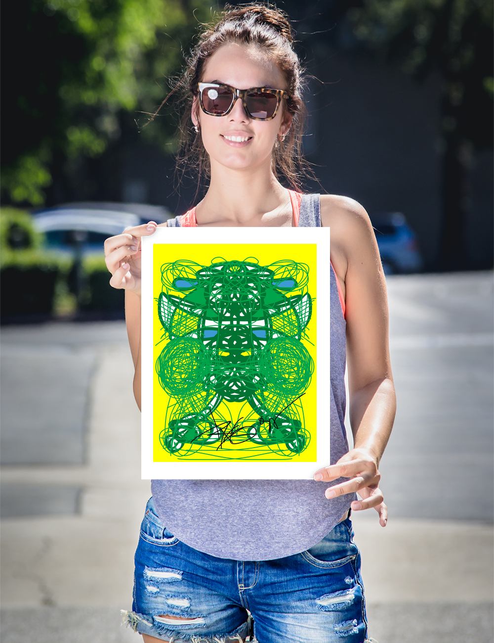 Green and Yellow RegiaArt - Framed poster paper