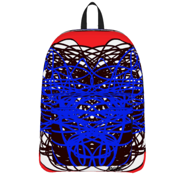 ABSTRACT REGIAART RED BLUE BLACK BACKPACK
