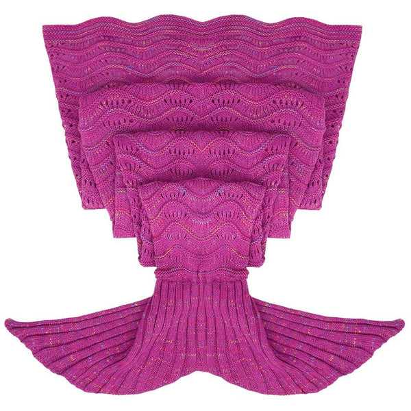 Deep Pink Luxurious Mermaid Sleep Sack - Hand Knitted With Premium Soft Cotton W/ Waves - The Gorillas Den