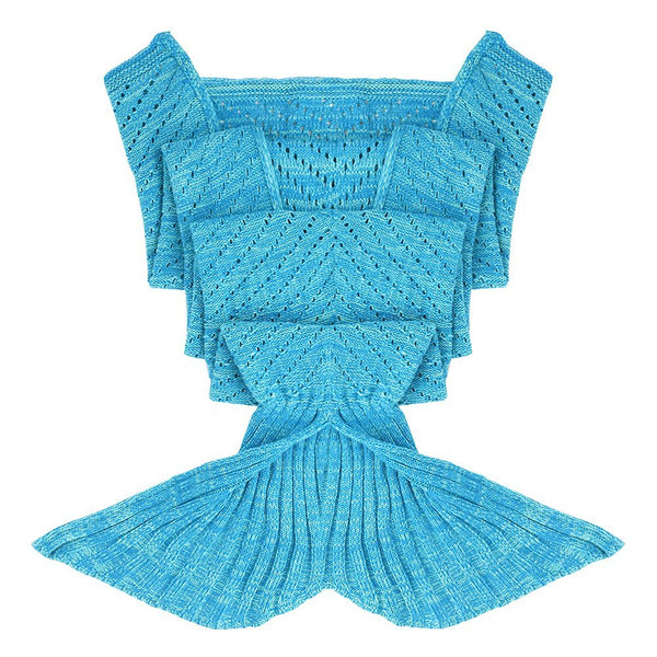 Sky Blue Perforated Luxurious Mermaid Sleep Sack - Hand Knitted With Premium Soft Cotton - The Gorillas Den