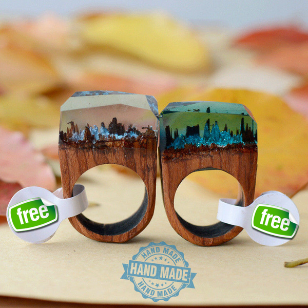 1pc 18mm Handmade Wood Resin Ring with Magnificent Tiny Fantasy Secret Landscape - The Gorillas Den