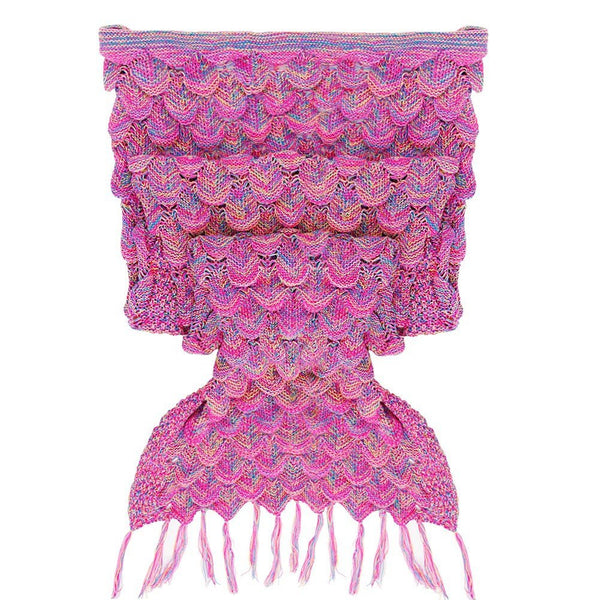 Pink/Purple Luxurious Mermaid Sleep Sack - Hand Knitted With Premium Soft Cotton W/SCALES and FRILLS - The Gorillas Den