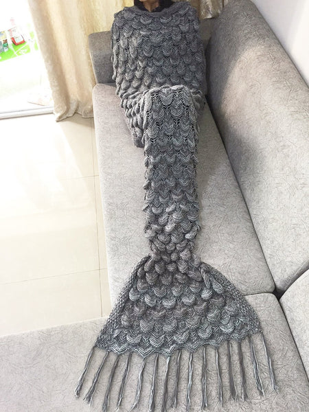 Grey Luxurious Mermaid Sleep Sack - Hand Knitted With Premium Soft Cotton W/SCALES and FRILLS - The Gorillas Den