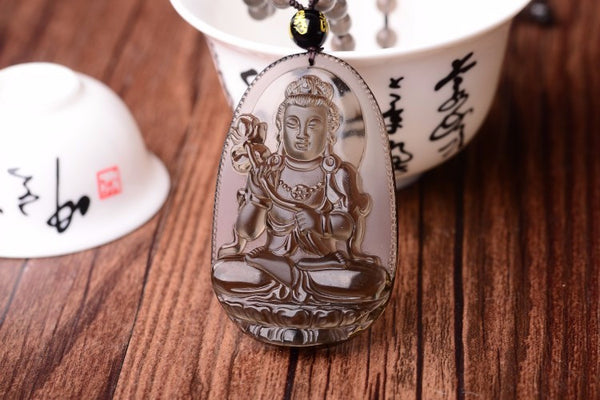 8 Guardian Buddhas of The Zodiac Necklace - Organic Rare Ice Black Living Obsidian - The Gorillas Den