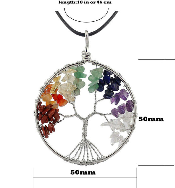 The Tree of Life Natural Stone Necklace - 7 Chakra