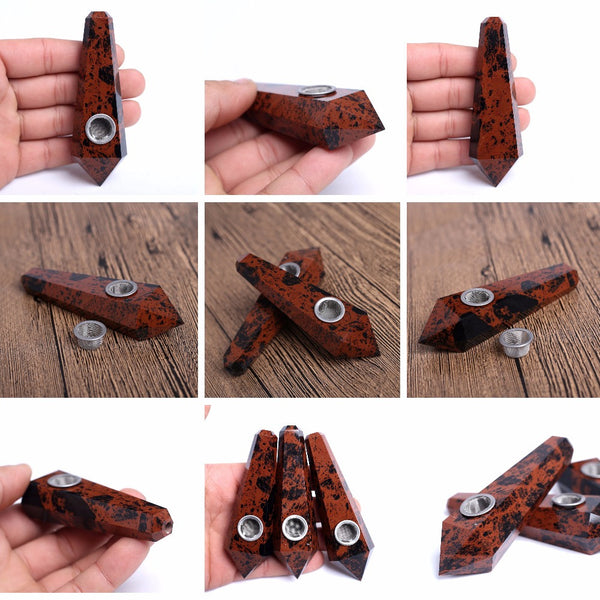 THE SPIRITUAL HIGHLIFE - ORGANIC RED OBSIDIAN PIPE