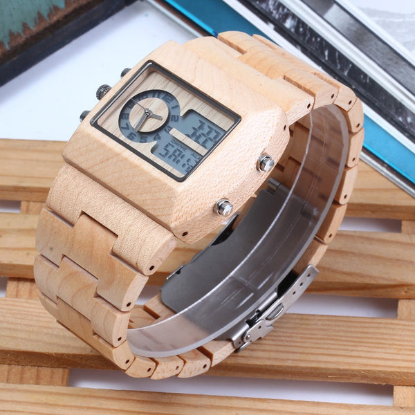 Wooden Digital Watches // The Bronson // White Maple
