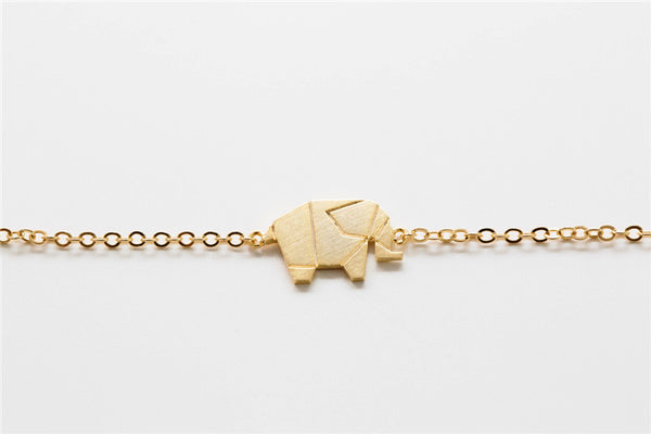 Origami Geometric Elephant Bracelet - Gold and Silver Plated - The Gorillas Den