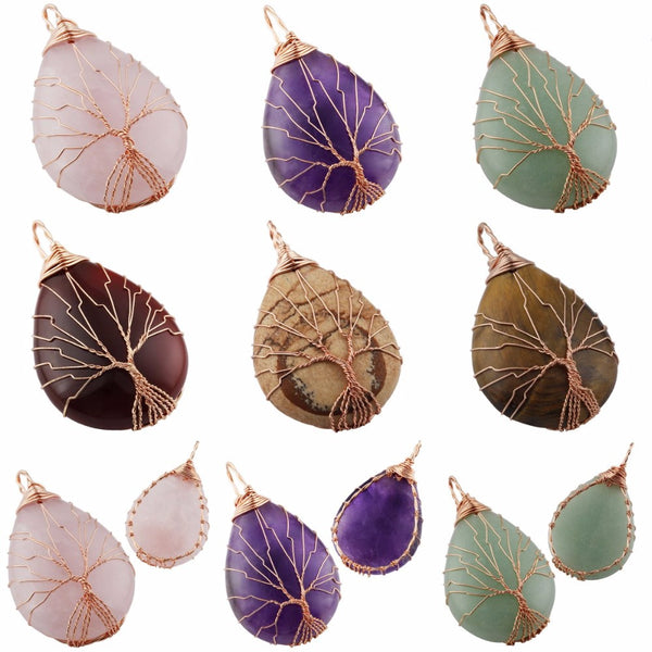 (75% Off! Limited Time Offer!) The Trinity of Elements - Stone of Healing/Tree of Life (24k Gold Wired Wrapped) - The Gorillas Den