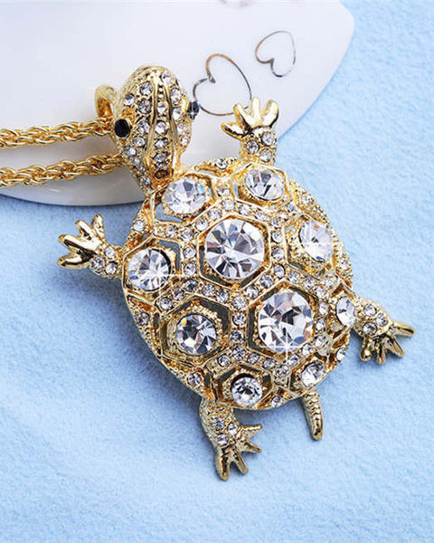 Rhinestones Turtle Pendant Necklace (18K Gold Plated) - The Gorillas Den