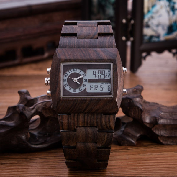 Wooden Digital Watches // The Bronson // Black Sandalwood