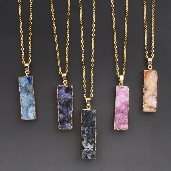 (FREE) Solar Powered Organic Quartz Necklace - 24k Gold Dipped - The Gorillas Den