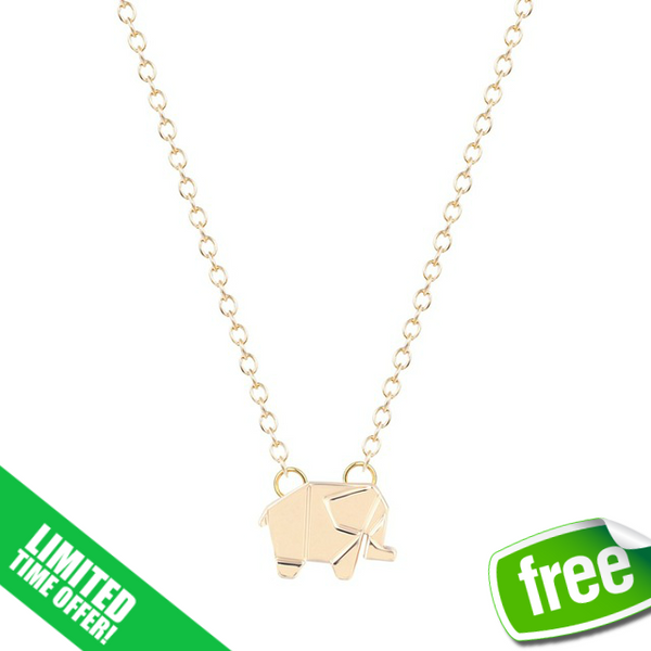 (SPECIAL ONE TIME OFFER) The Origami Elephant Necklace-Silver and Gold Dipped - The Gorillas Den
