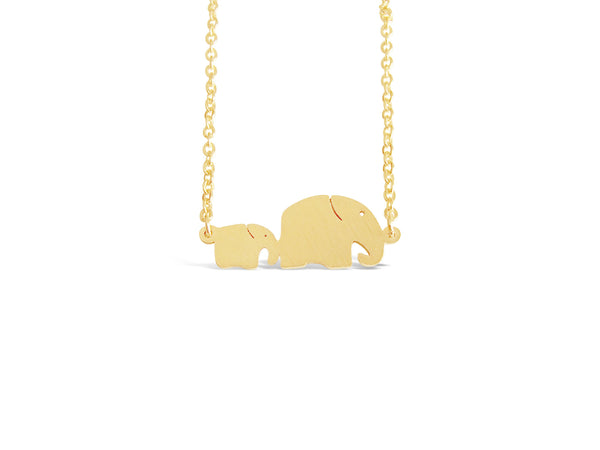 Just The Two of Us Elephant Necklace - Gold and Silver Plated - The Gorillas Den
