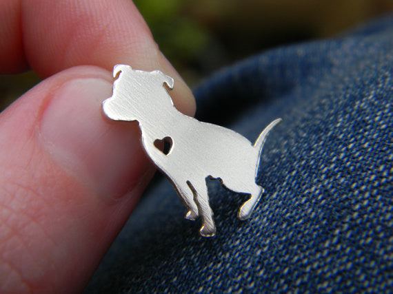 Sitting Pit bull Heart Pendant - The Gorillas Den