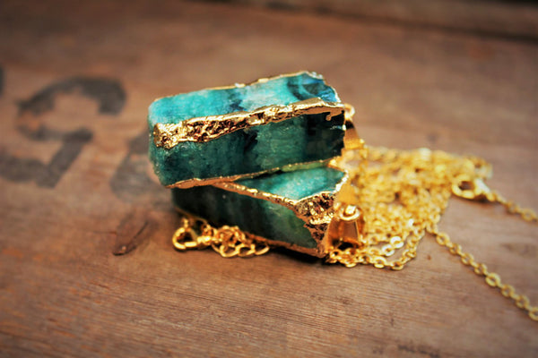 The Key Of Life Geode Crystal 24k Gold Dipped Necklace - 5 Colors - The Gorillas Den
