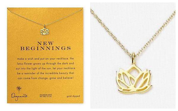 New Beginnings Lotus Pendant Necklace-Gold Dipped - The Gorillas Den