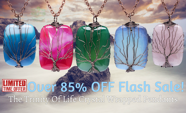 The Trinity of Life Natural Crystal Wire Wrapped Necklaces - Neon Edition