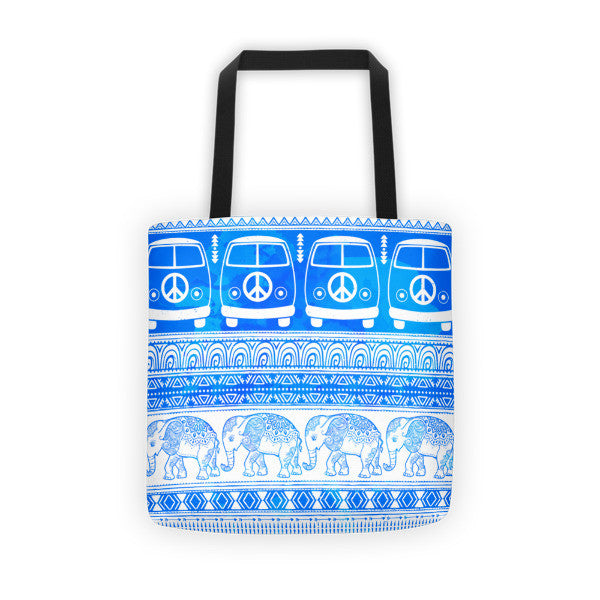Peace, Love and Elephants Tote bag-Pattern Print - The Gorillas Den