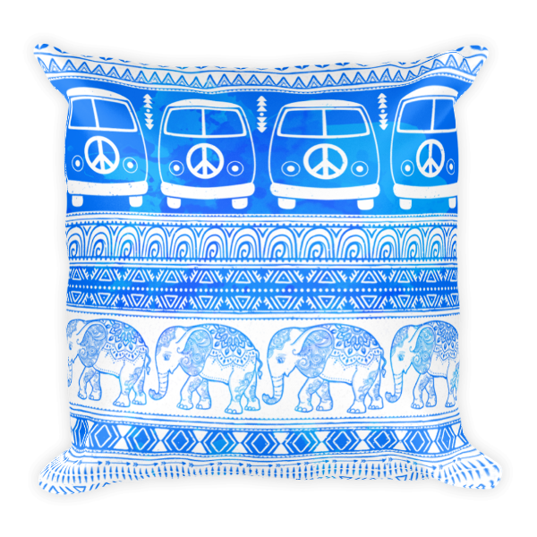 Peace, Love and Elephants Pillow-Pattern Print - The Gorillas Den