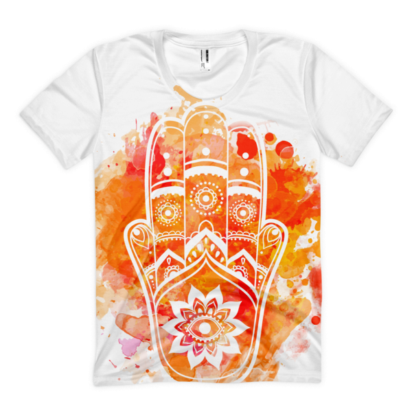 Orange Hamsa Women's Tee-Watercolour - The Gorillas Den