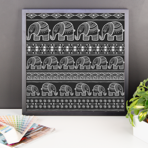 The Black Elephant Framed Poster-Pattern Print - The Gorillas Den