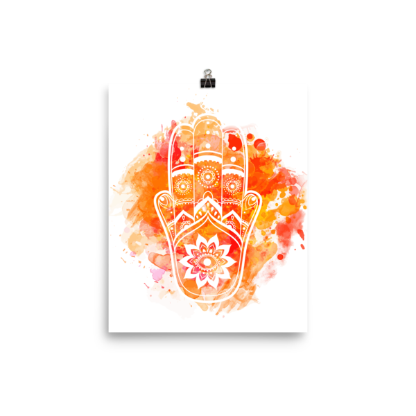 Orange Hamsa Poster-Watercolour - The Gorillas Den