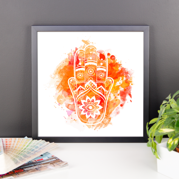 Orange Hamsa Framed poster-Watercolour - The Gorillas Den