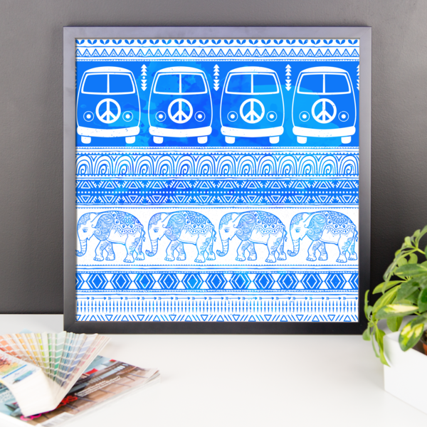 Peace, Love and Elephants Framed poster-Pattern Print - The Gorillas Den