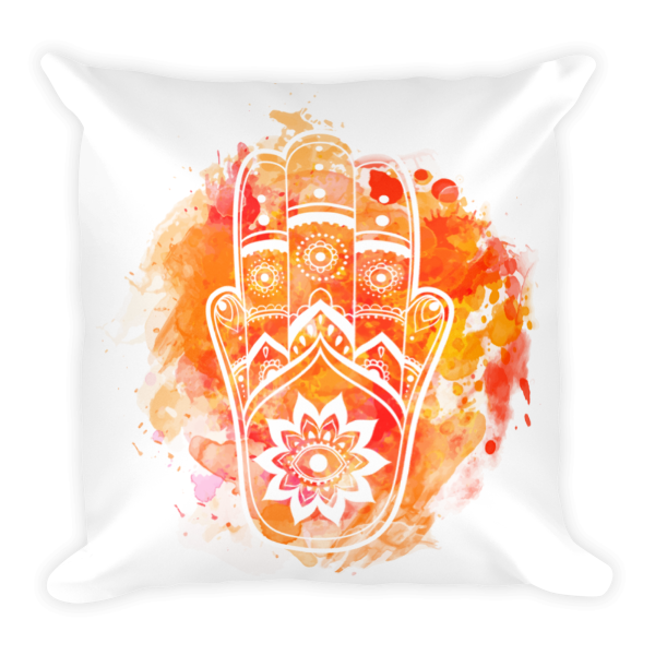 Orange Hamsa Pillow-Watercolour - The Gorillas Den