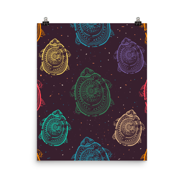 Turtle Power Poster-Multi-color Pattern