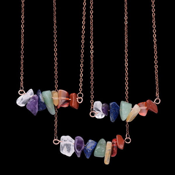 (FREE) 7 Chakra of Zen Layered Stones - Copper Plated Necklace - The Gorillas Den