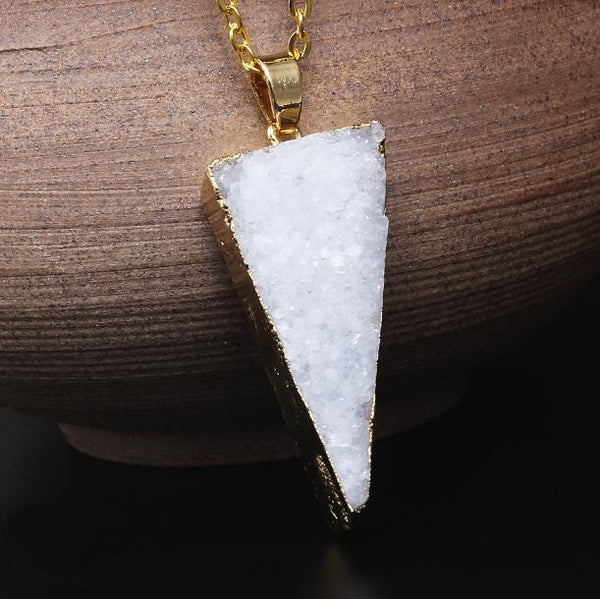 (70% Off!) Triangulist Solar Powered Druzy Pendant - Generously Gold Dipped in 24k Gold - The Gorillas Den