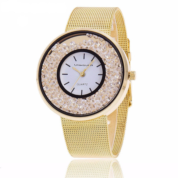 Shine Like a Diamond Wrist Watch - Metal Woven Band - The Gorillas Den